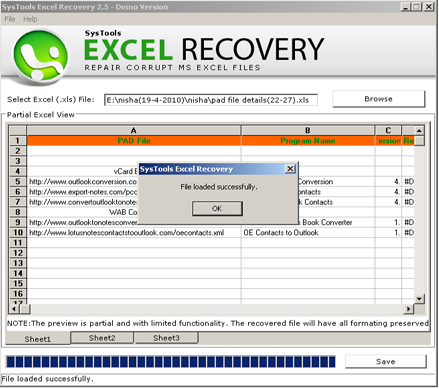 Click to view Excel Recovery Program 2.5 screenshot